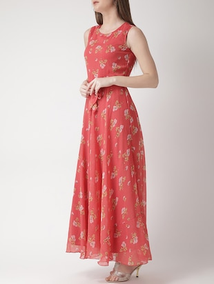 floral self tie belted maxi dress - 15698682 - Standard Image - 2
