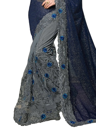 floral embroidered half & half saree with blouse - 15703228 - Standard Image - 2