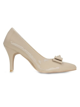 beige faux leather slip on pumps - 15713336 - Standard Image - 2