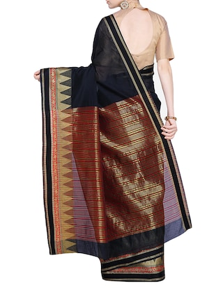 temple zari border woven saree with blouse - 15724738 - Standard Image - 2
