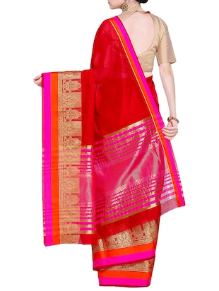 zari border woven saree with blouse - 15724739 - Standard Image - 2