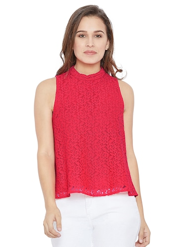 051670bdeb061 Buy Mock Neck Floral Lace Peplum Top by Miss Chase - Online shopping for  Tops in India