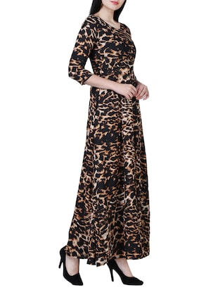 round neck animal print maxi dress - 15726107 - Standard Image - 2