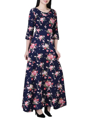 round neck floral maxi dress - 15726110 - Standard Image - 2