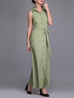 button up checkered maxi dress - 15726272 - Standard Image - 2