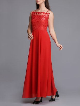 lace paneled sequined maxi dress - 15726274 - Standard Image - 2