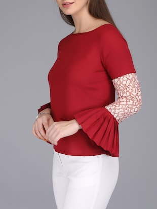 lace insert bell sleeved top - 15726284 - Standard Image - 2
