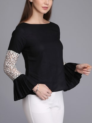 lace insert bell sleeved top - 15726285 - Standard Image - 2