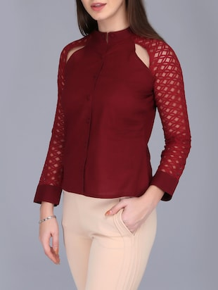 lace sleeved button up top - 15726286 - Standard Image - 2