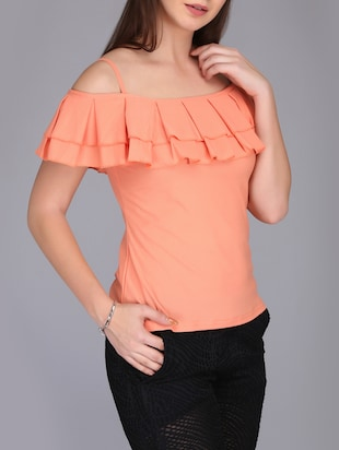 cold shoulder pleated top - 15726294 - Standard Image - 2