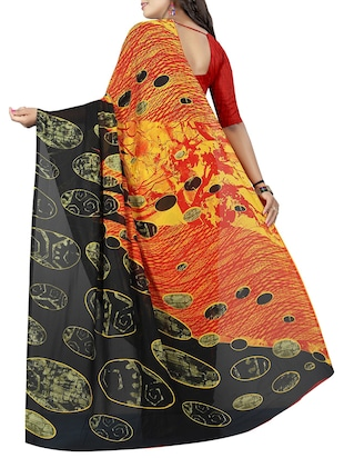 geometrical printed saree with blouse - 15726302 - Standard Image - 2