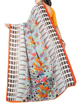 geometrical printed saree with blouse - 15726311 - Standard Image - 2