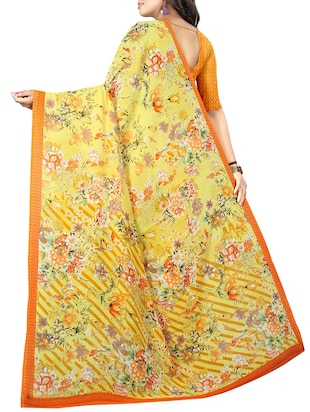floral printed saree with blouse - 15726314 - Standard Image - 2