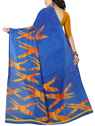 geometrical printed saree with blouse - 15726318 - Standard Image - 2