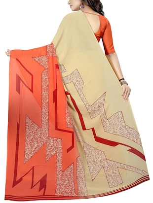 geometrical printed saree with blouse - 15726325 - Standard Image - 2