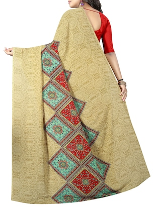geometrical printed saree with blouse - 15726328 - Standard Image - 2