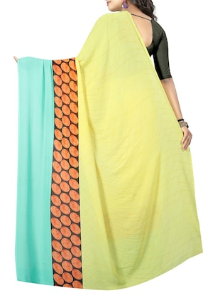 polka dots printed saree with blouse - 15726334 - Standard Image - 2