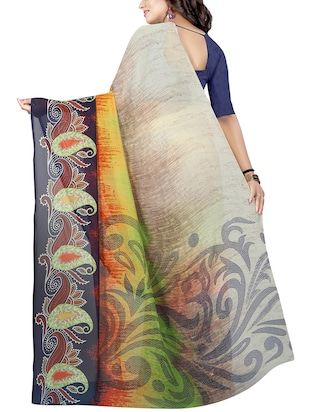 paisley printed saree with blouse - 15726335 - Standard Image - 2