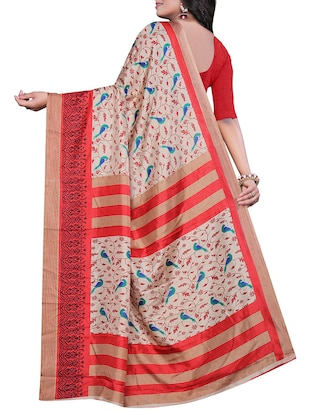 conversational printed saree with blouse - 15726347 - Standard Image - 2