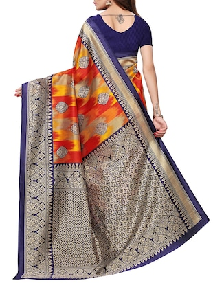 contrast border mysore silk saree with blouse - 15726351 - Standard Image - 2