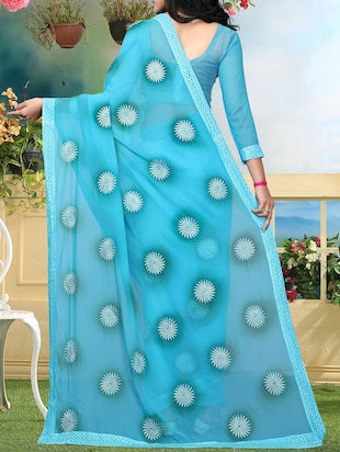 floral resham embroidered saree with blouse - 15726373 - Standard Image - 2