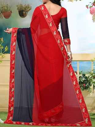 floral lace border ombre saree with blouse - 15726382 - Standard Image - 2