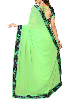 floral lace border saree with blouse - 15726548 - Standard Image - 2