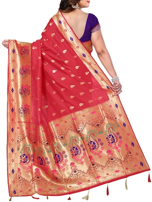 conversational zari motif banarasi saree with blouse - 15726729 - Standard Image - 2