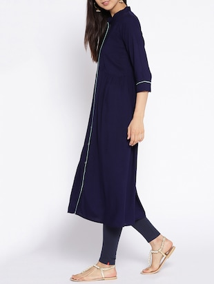 A-line piping solid kurta - 15727470 - Standard Image - 2