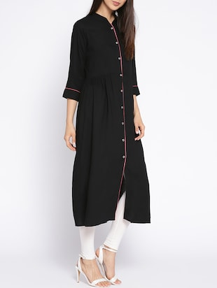 A-line solid piping kurta - 15727473 - Standard Image - 2