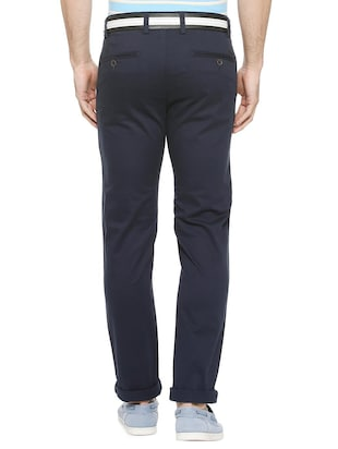 blue cotton blend chinos - 15727650 - Standard Image - 2