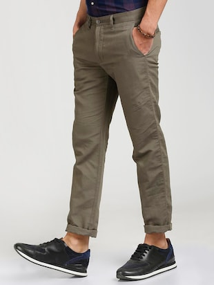 grey cotton blend chinos - 15727668 - Standard Image - 2