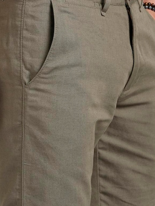 grey cotton blend chinos - 15727668 - Standard Image - 5