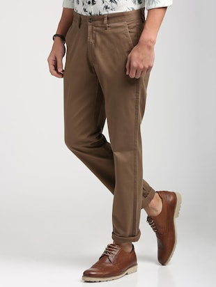 brown cotton blend chinos - 15727695 - Standard Image - 2
