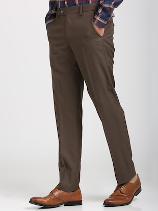 brown polyester blend flat front trousers formal - 15727697 - Standard Image - 2