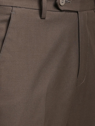 brown polyester blend flat front trousers formal - 15727697 - Standard Image - 5