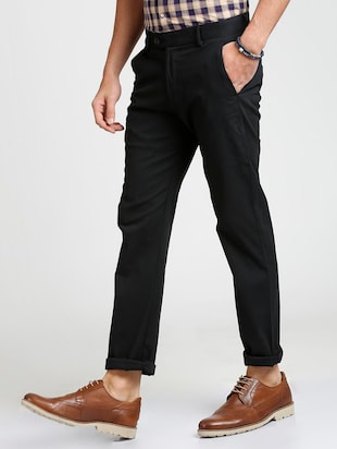 black cotton blend chinos - 15727701 - Standard Image - 2