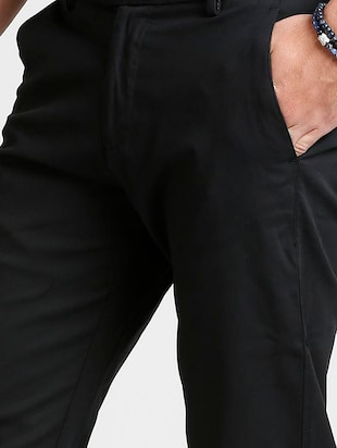 black cotton blend chinos - 15727701 - Standard Image - 5