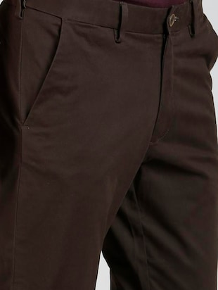 brown cotton blend chinos - 15727702 - Standard Image - 5