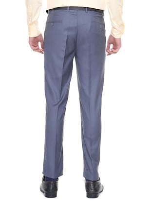 blue terry rayon flat front  formal trouser - 15727731 - Standard Image - 2