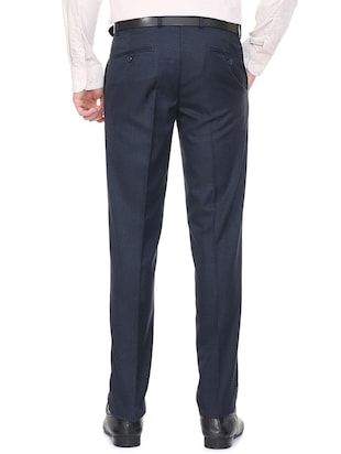 blue terry rayon flat front formal trouser - 15727735 - Standard Image - 2