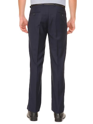 navy blue terry rayon flat front formal trouser - 15727738 - Standard Image - 2