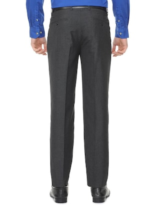 grey polyester blend pleated formal trouser - 15727795 - Standard Image - 2