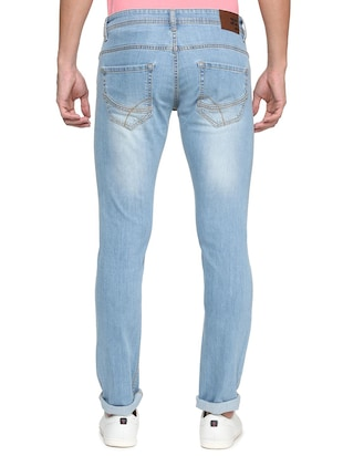 blue cotton blend washed jeans - 15728247 - Standard Image - 2