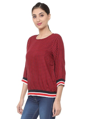 button detail checkered top - 15728403 - Standard Image - 2