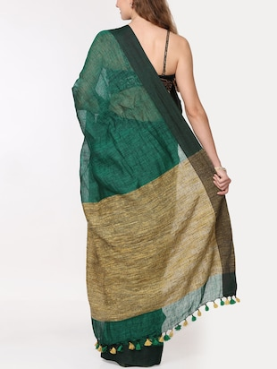 color block linen handloom saree with blouse - 15728558 - Standard Image - 2
