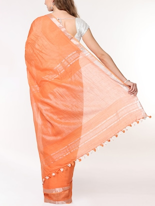 solid handloom saree with blouse - 15728573 - Standard Image - 2