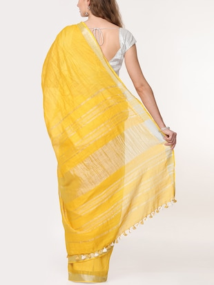 solid handloom saree with blouse - 15728576 - Standard Image - 2