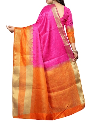 contrast zari border banarasi saree with blouse - 15728874 - Standard Image - 2