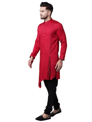 red cotton asymmetric kurta pyjama set - 15729234 - Standard Image - 2